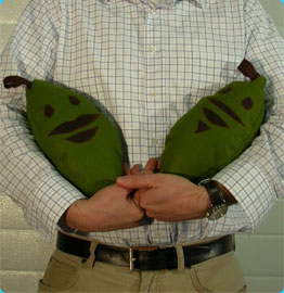 Man Holds Plantain Plushies